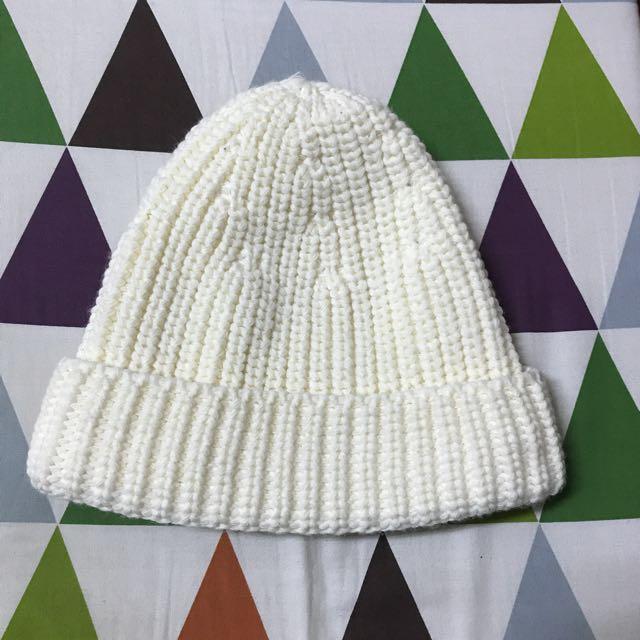 厚針織毛帽-米白