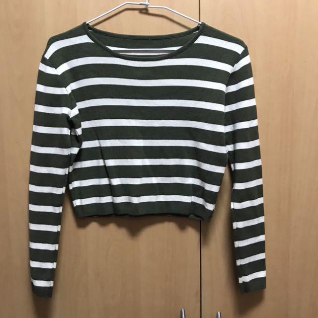 綠白條紋短版個性上衣