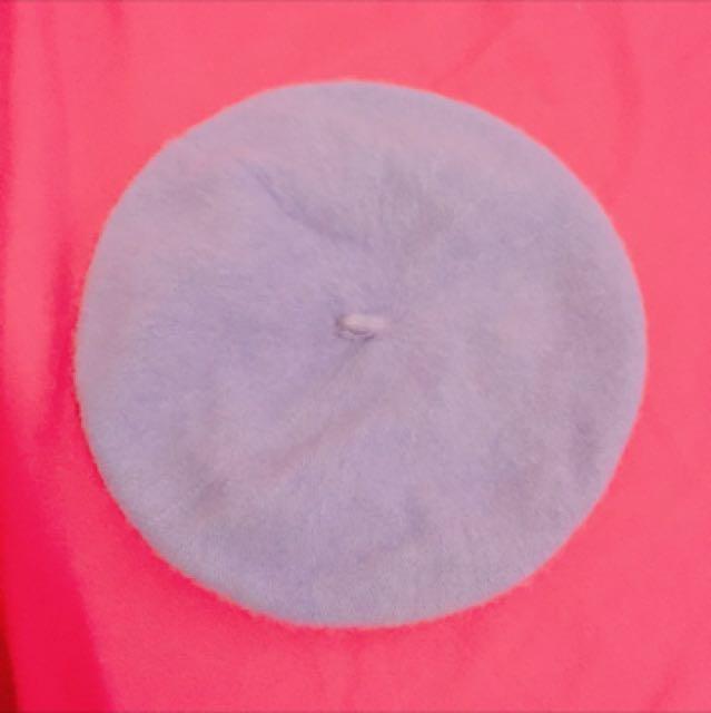 (轉賣)紫色毛絨感貝蕾帽