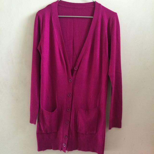 桃紅色針織長版外套