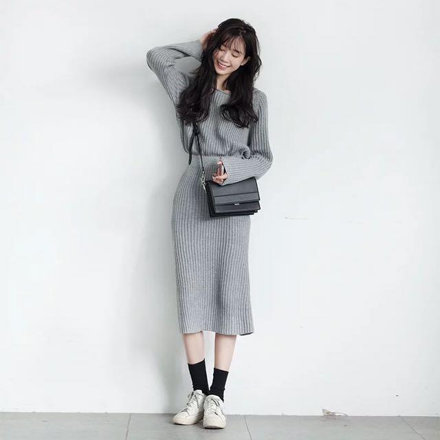 灰色毛衣兩件套