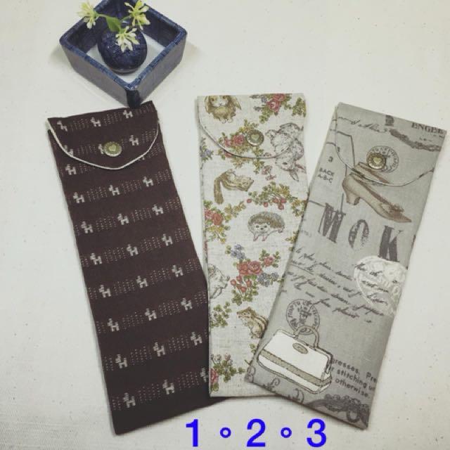 日本棉麻布製作 簡單生活環保筷組袋筆袋彩妝工具袋7*20公分