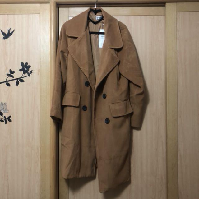 國外品牌 雙排扣毛呢呢子落肩長版大衣外套