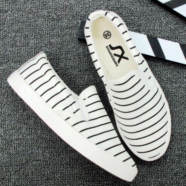 全新條紋帆布鞋 休閒鞋