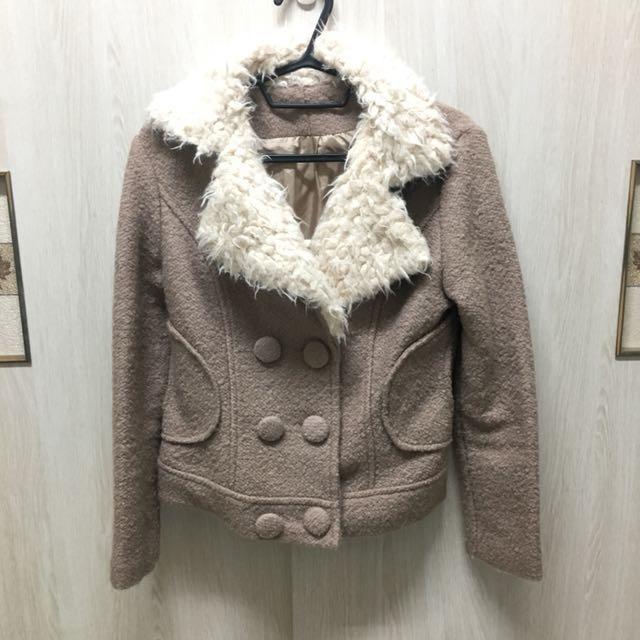 正韓貨 毛料合身翻領騎士外套