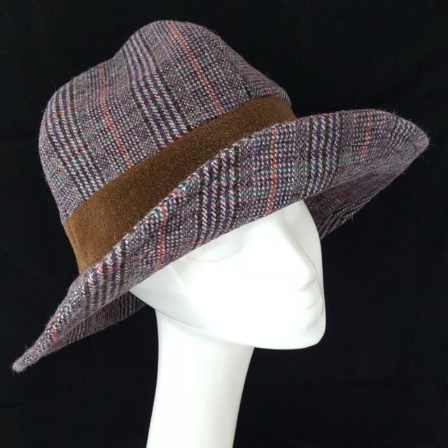 手作帽 格子毛呢四片紳士造型帽 寬簷 頭圍57-58