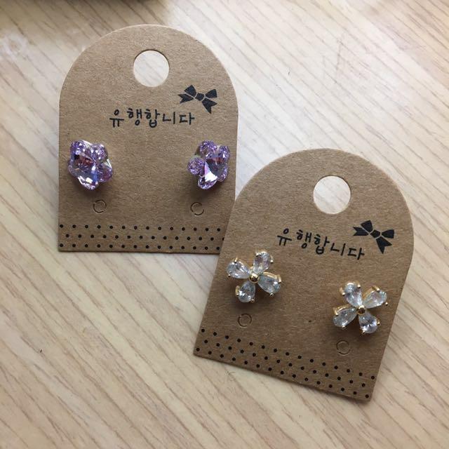 花花 紫鑽 水晶感 白鑽 鋯石 耳環 耳針