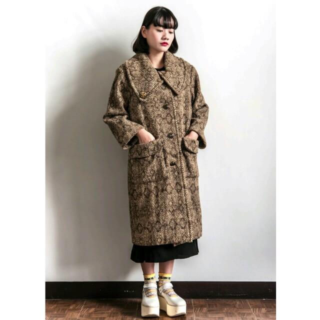 古著 vintage 失戀實驗室 復古大領大衣外套