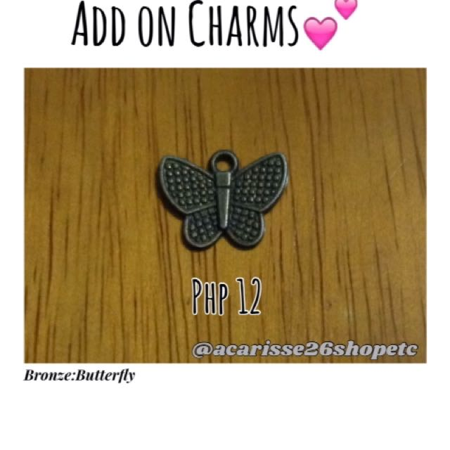 Add on charms-Bronze:Butterfly