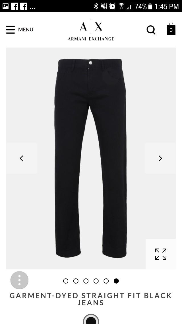 7bea5d1b 33R Armani Exchange Garment Dyed Straight Fit Black Jeans
