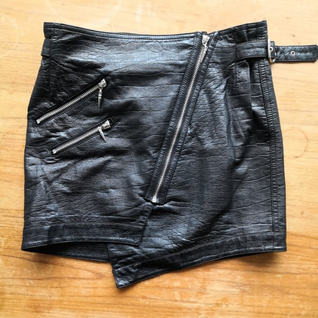 AS NEW Black leather look skirt