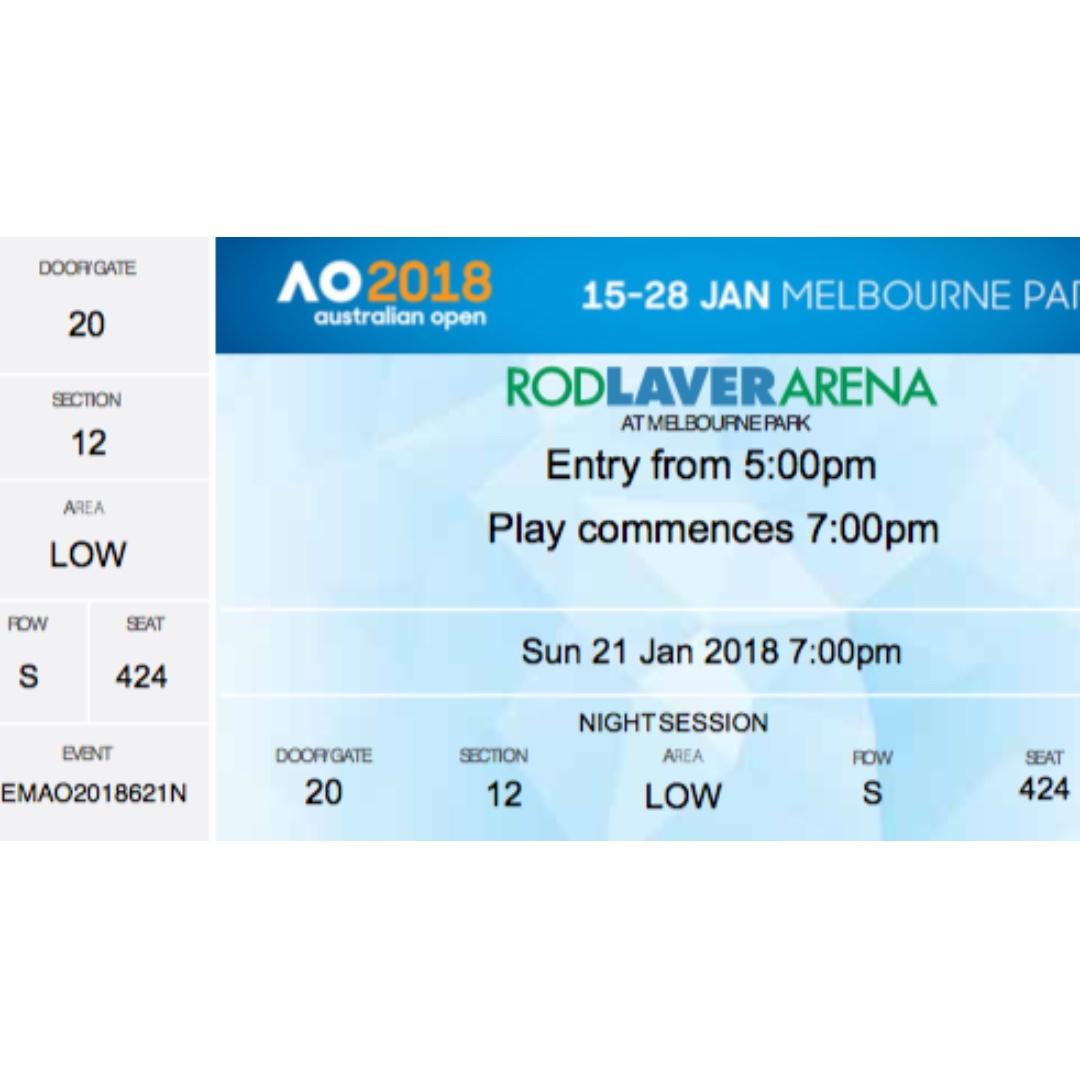 2 tickets to Australian Open 2018 - Sunday, 21 January 17:00
