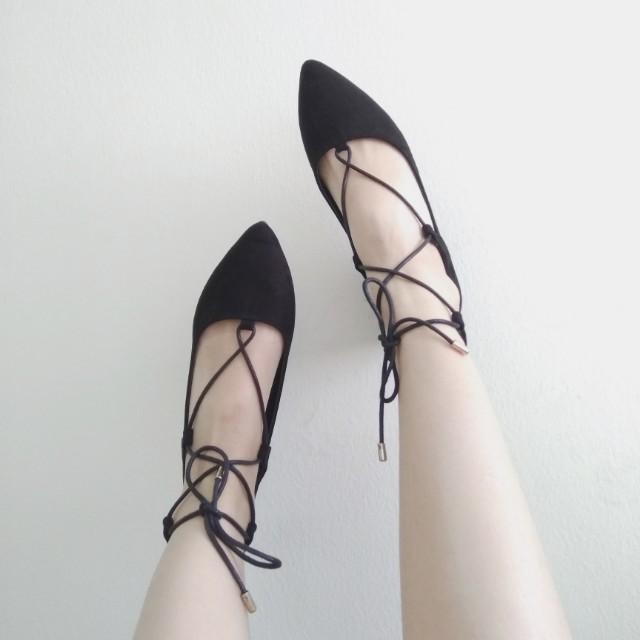 Bata Laced Up Flats, Size 37, Size 6, Black #Fesyen50