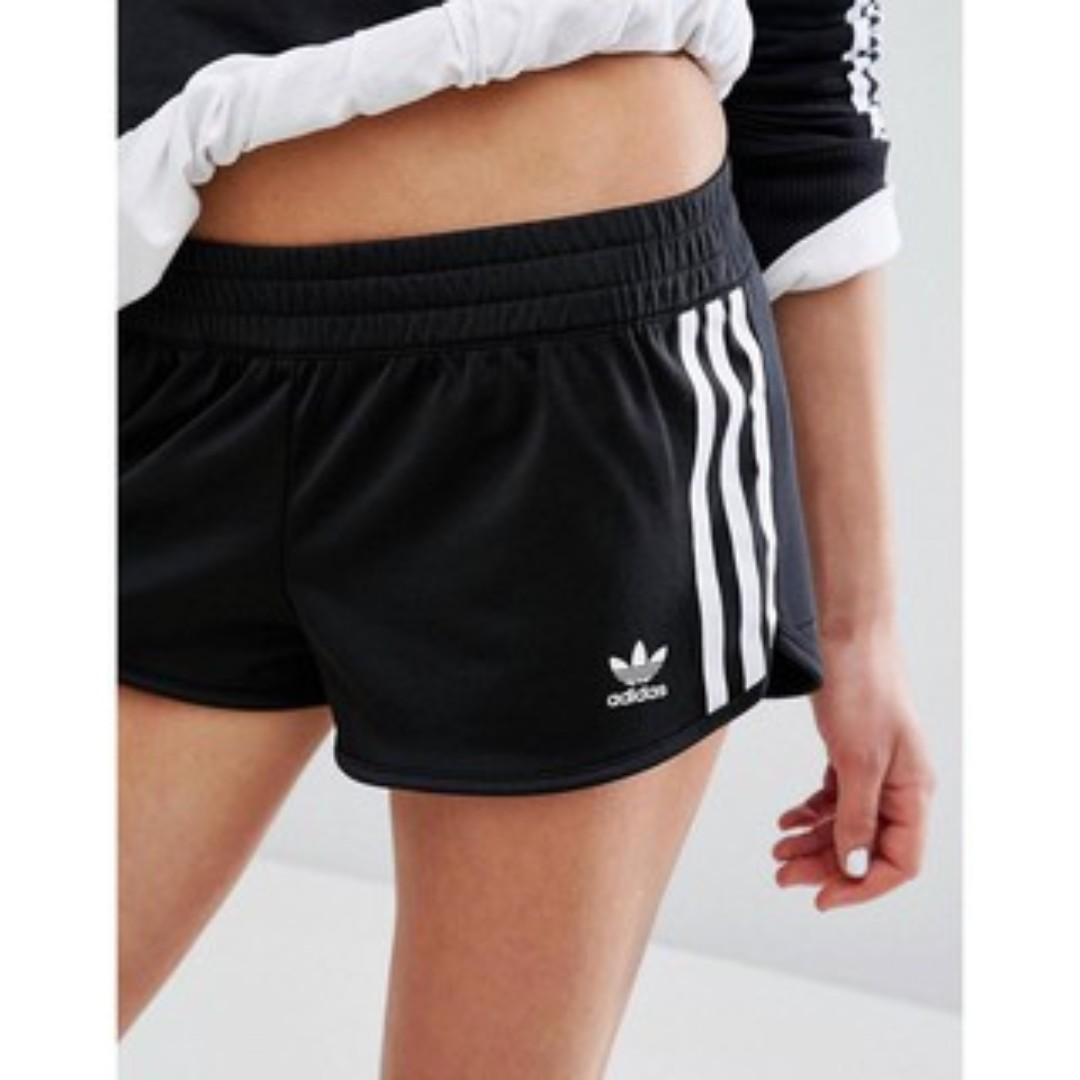 BK7142 ADIDAS ORIGINALS REGULAR SHORT 黑白 三葉草 短褲 熱褲 運動 基本款 顯瘦