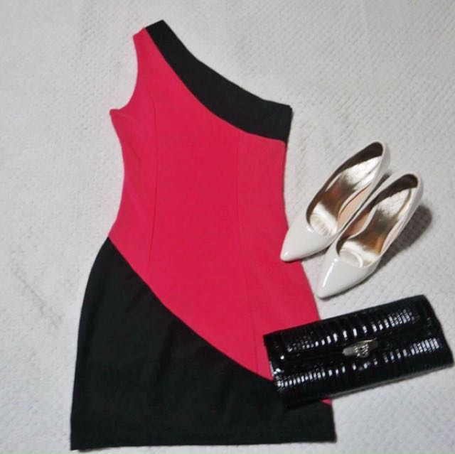 Black and Pink Venus Cut Dress
