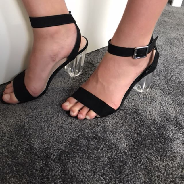 Black and see - through heels