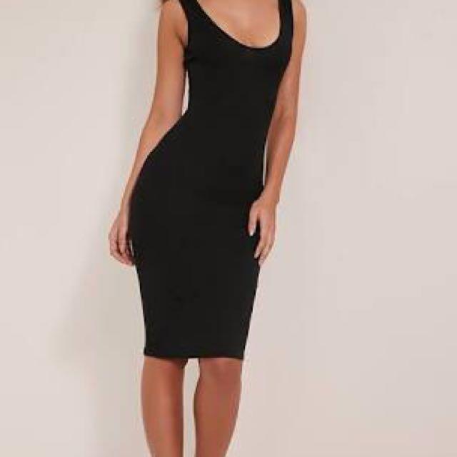 Black Bodycon Ribbed Midi Dress