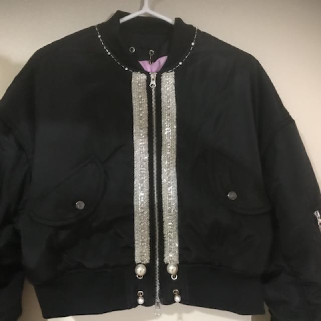 Black Satin Jacket with Pearls and Beads
