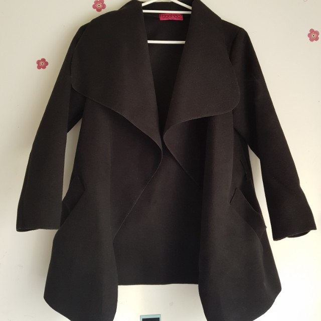 Boohoo duster coat jacket knitwear black matte size 10