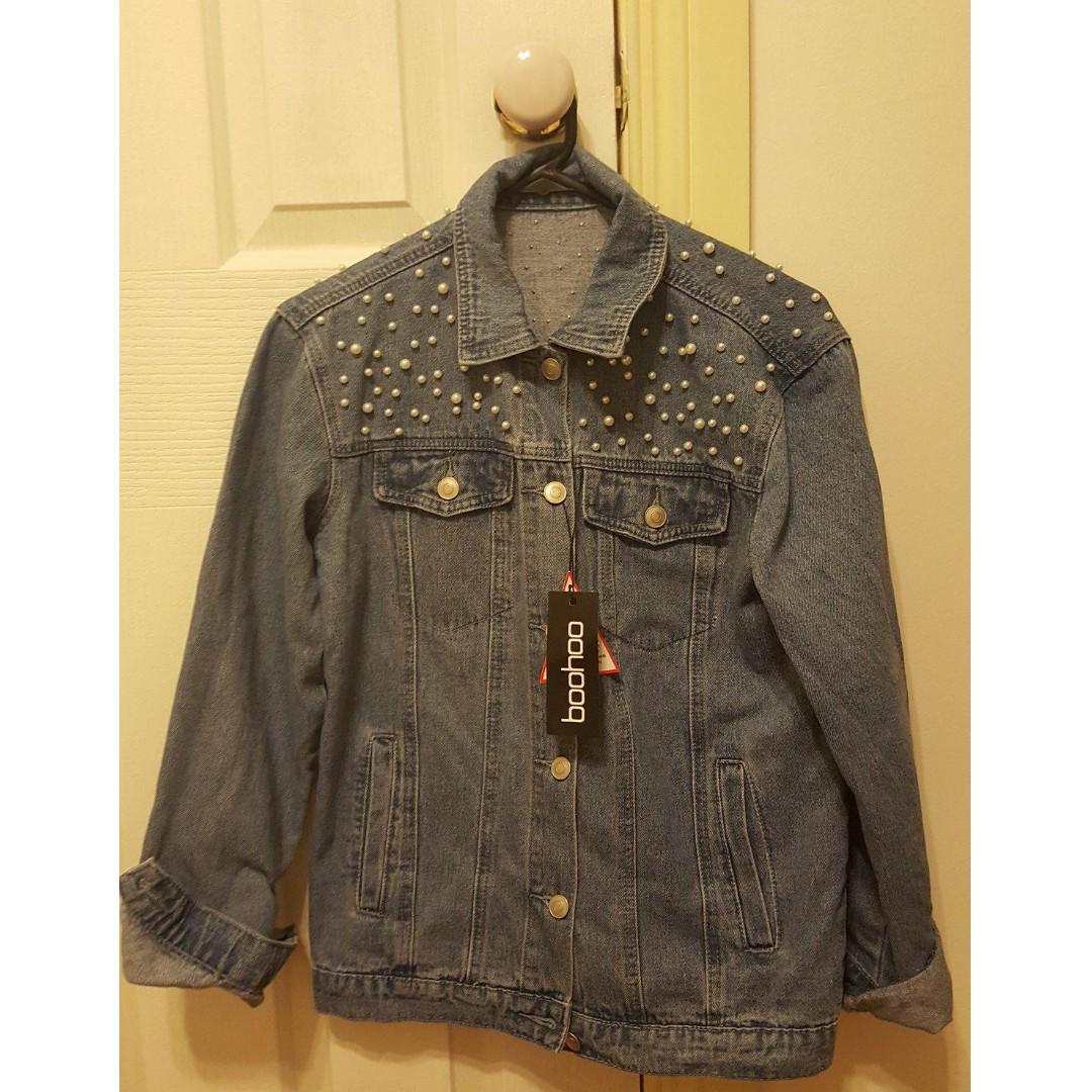 Boohoo Oversized Pearl Studded Denim Jean Jacket - size 8