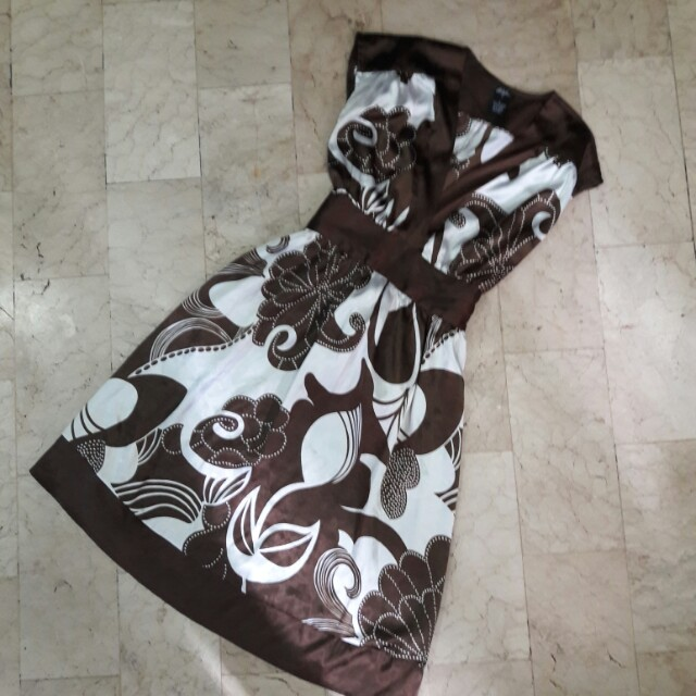 Brown Floral Silk Dress