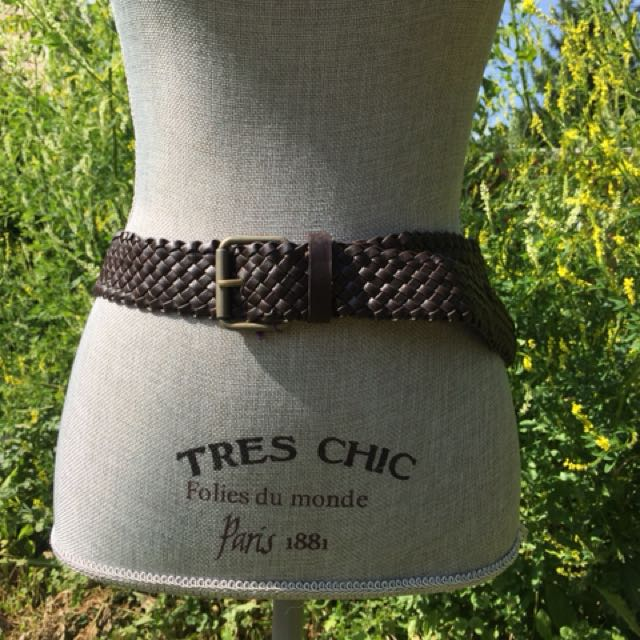 Brown Leather-Like Weave Belt S M L