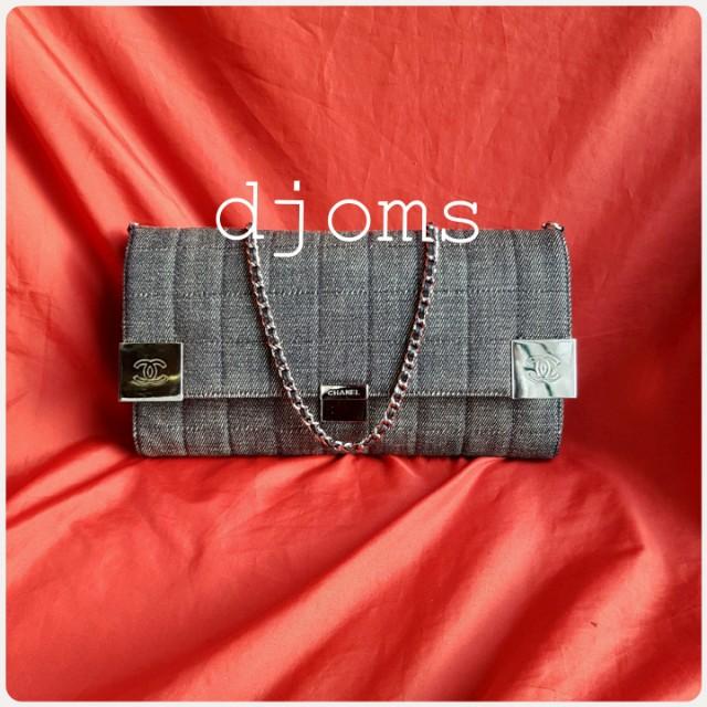 Chanel choco bar quilted chain denim flap clutch shoulder bag