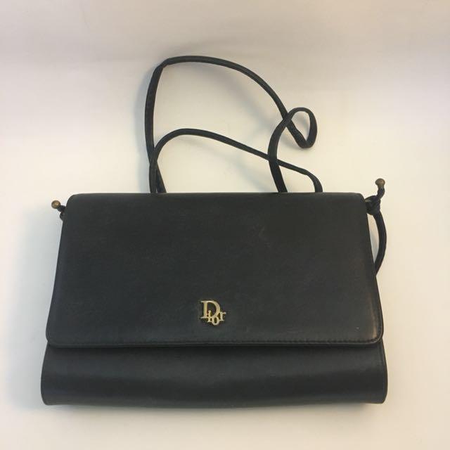8383db9261 CHRISTIAN DIOR Vintage Black Leather Crossbody, Luxury, Bags ...
