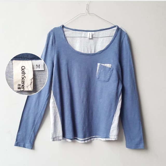 Cloth Scenery Blue Pocket Shirt