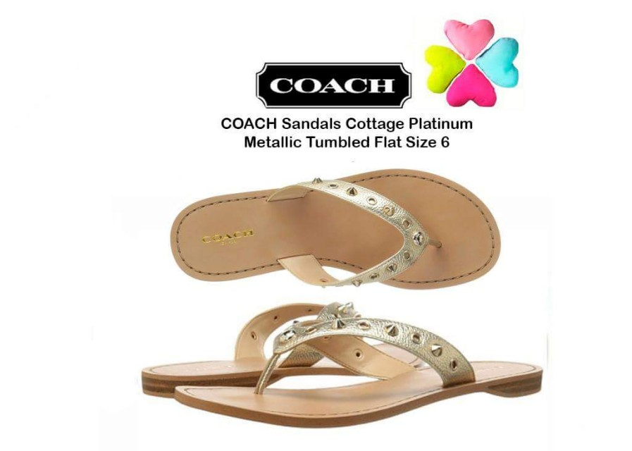 Coach Flat Cottage Sandal with Signature Grommeta and pointed studs