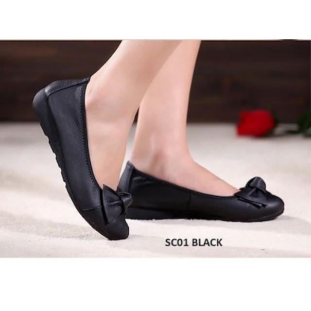 cbcef03c2fd Comfortable Soft Real Cow Leather Black Ladies Shoes Flats Pumps ...