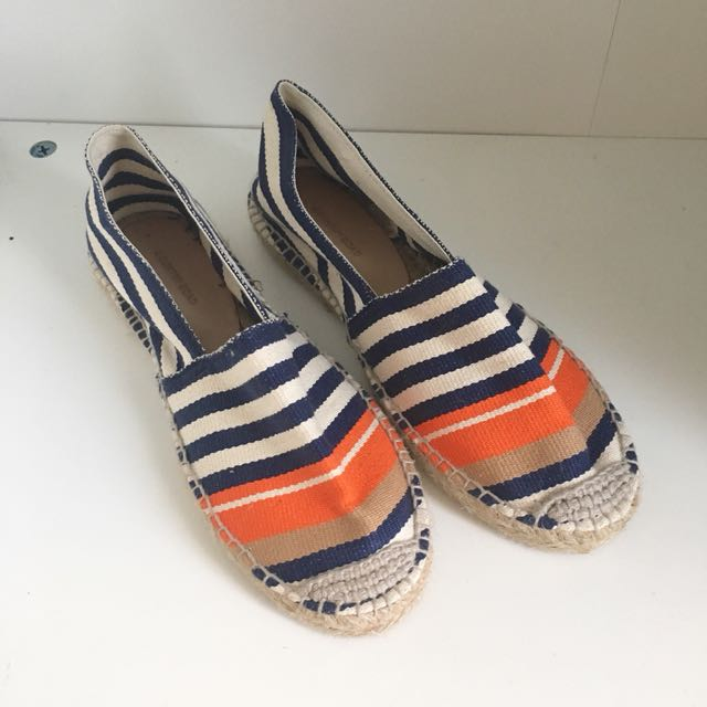 COUNTRY ROAD STRIPES FLATS BLUE AND ORANGE