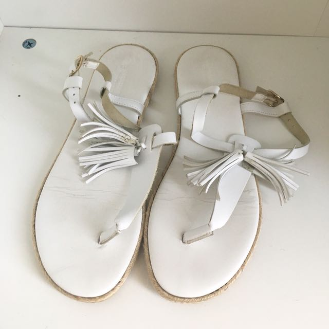 COUNTRY ROAD WHITE LEATHER SANDALS