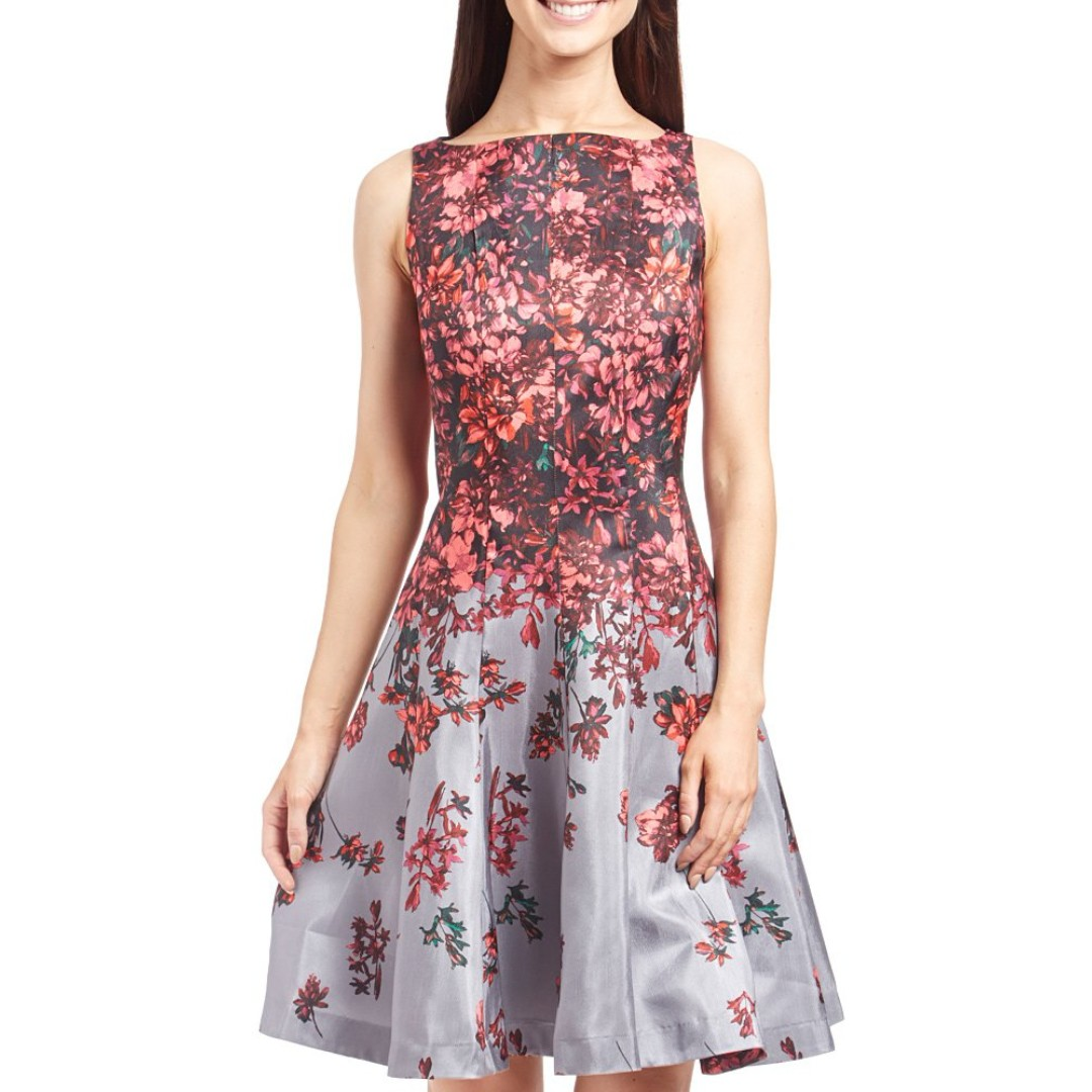 Danny & Nicole Sleeveless Floral Dress Grey Poppy