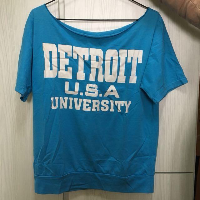 Detroit 藍色露膊跌膊上衣