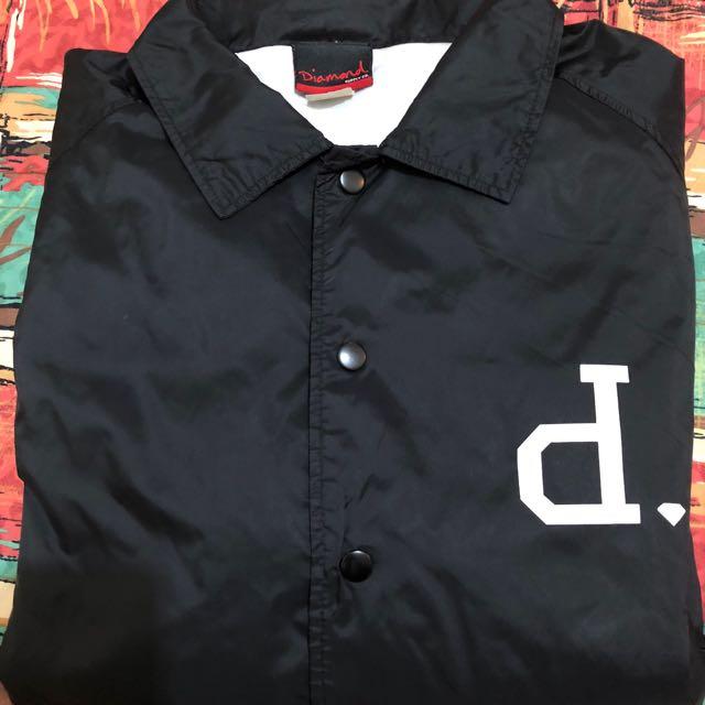 diamond supply co. 教練外套 黑 左胸logo