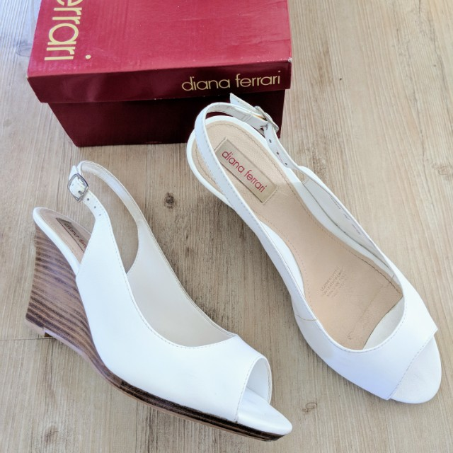 DIANA FERRARI White Leather Wedge Shoes Size 8.5