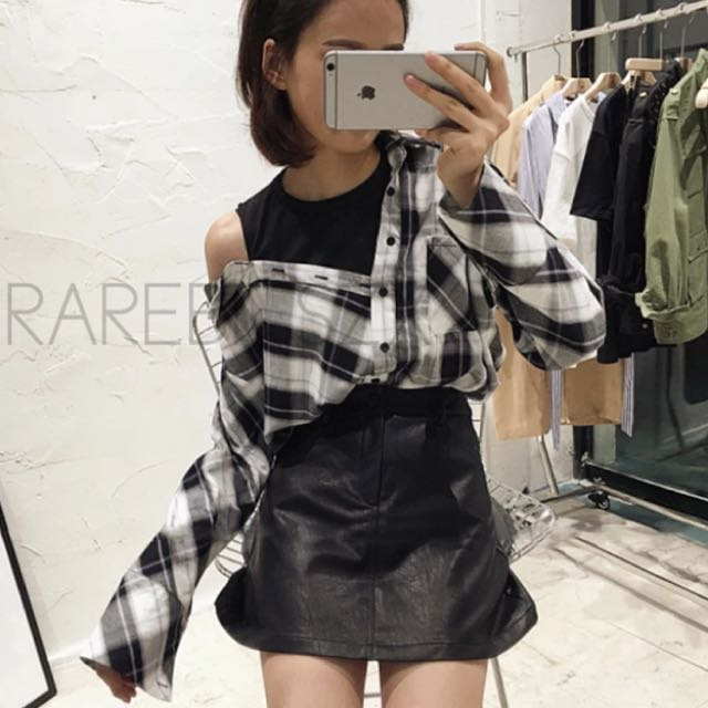 Fake 2 Piece Gingham Top