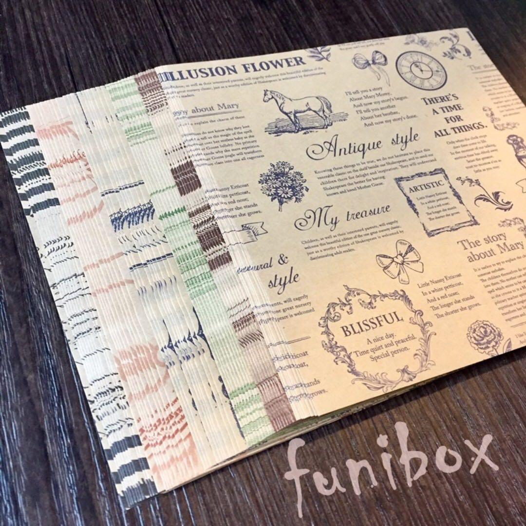 *funibox*藝術風格雙面印刷方形牛皮折紙60入/包裝 手作 折紙 剪貼素材底紙