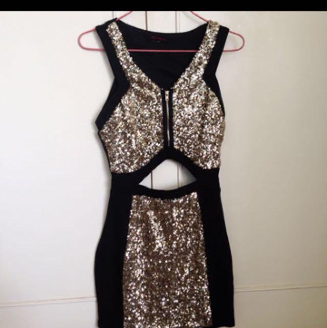 Gold Sequin Cut-out Dress