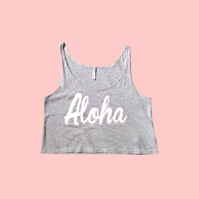 Gray Statement Cropped Top