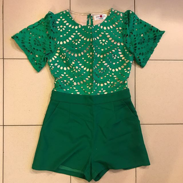 Green lace playsuit