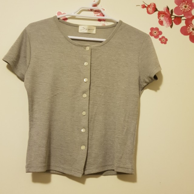 Grey button top crop tops womens