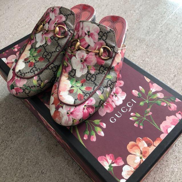 c99b84a9f2d2 Gucci princeton bloom slippers slip on loafers rose sakura pink ...