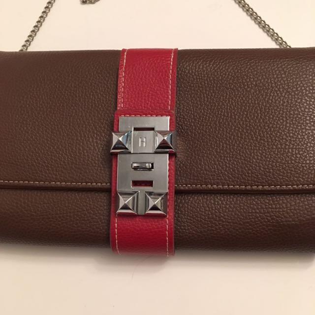 HERMES Medor leather clutch bag