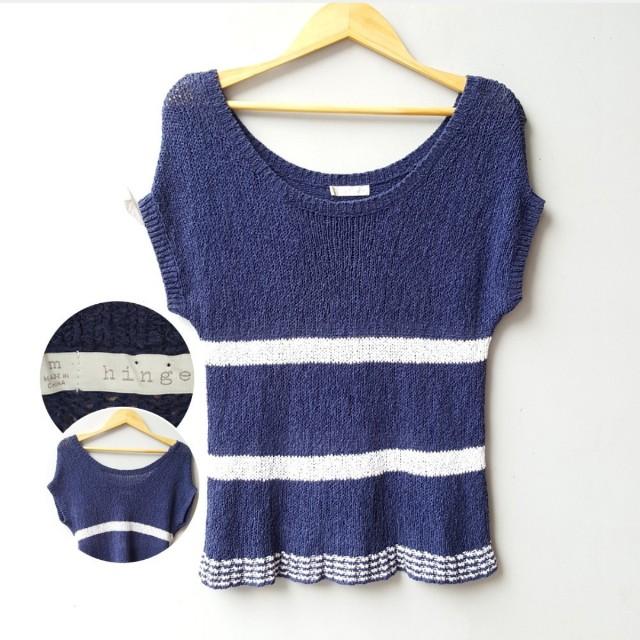 HINGE Navy White Knit Top