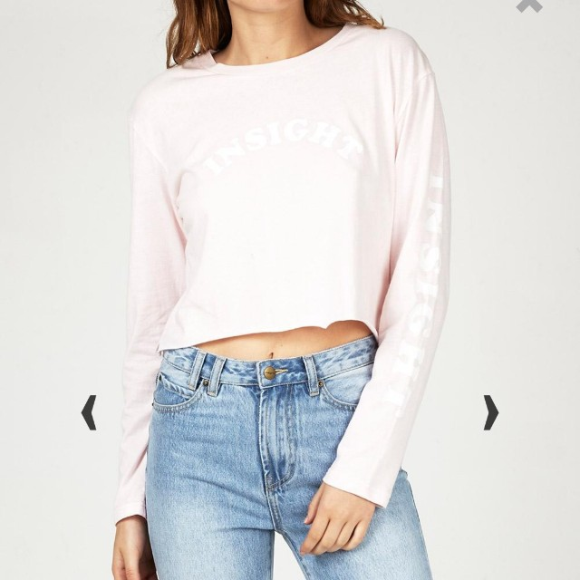 insight pink long sleeve crop top