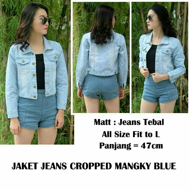 Jaket jeans crop manky blue jaket jeans wanita crop jaket wanita crop df8df57fab