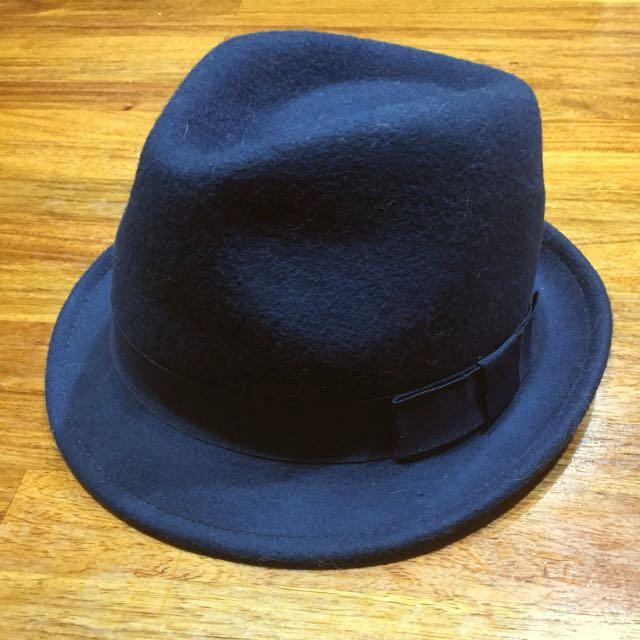Kids' Navy Wool Felt Hat Adjustable