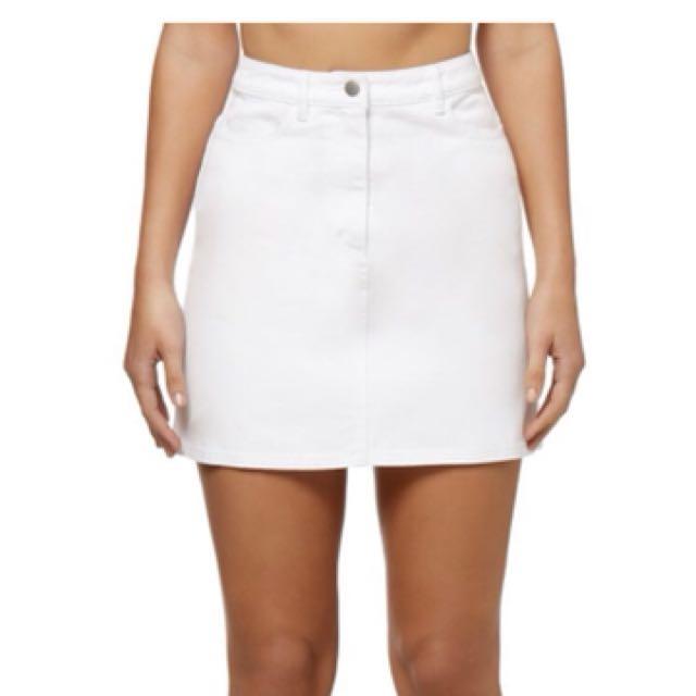 Kookai White Denim Skirt